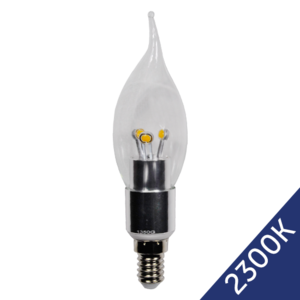 LED Flame Candle 4W (Epistar) WarmWhite 2300K E14 230V AC Clear