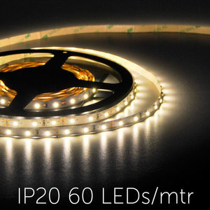 Flexibele LED Strip 3528 WarmWhite 3000K 60LEDs/mtr IP20