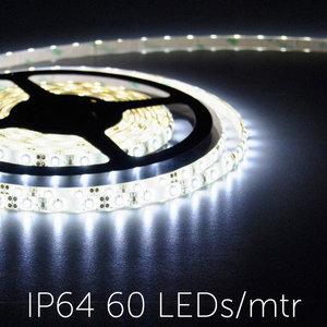 Flexibele LED Strip 3528 CoolWhite 6000K 60LEDs/mtr IP64
