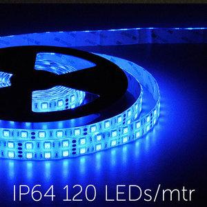 Flexibele LED Strip 5050 Blauw 120leds/mtr IP64